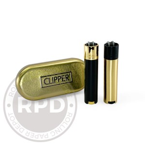 Clipper Metal Cased Black & Gold Lighters